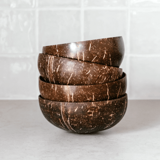 stack of 4 coconut bowls