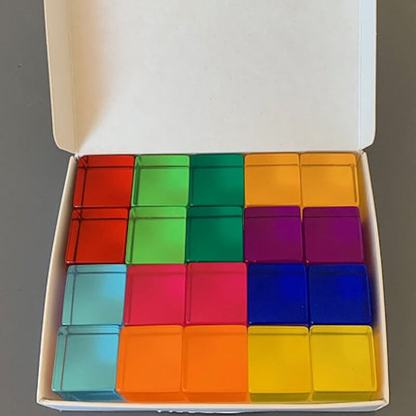 20 lucite cubes in a box