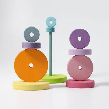 pastel conical tower grimms wooden toys