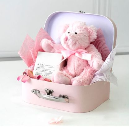 pink jointed teddy bear in suitcase 25cm