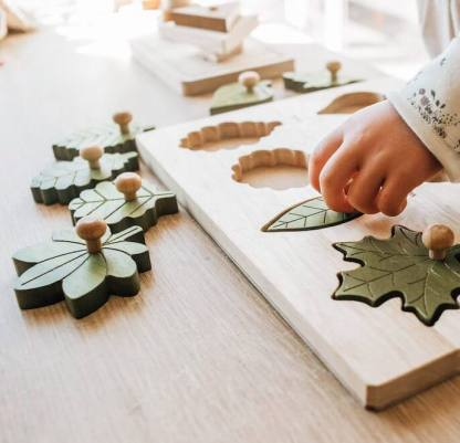 child playing with leaf puzzle from qtoys