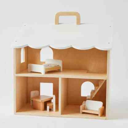 wooden dolls house with furniture nordic kids