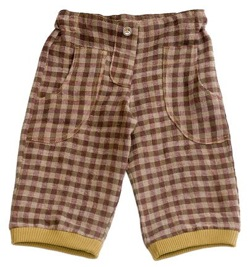 drappa dot pants check brown