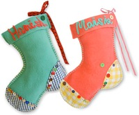 christmas stockings from alice and emma in peppermint and peach with hamish and maisie