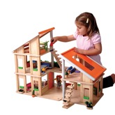 Plan Toys Chalet Dolls House with Modern Furniture Set and Family