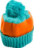 Orange and turquoise stripe bobble hat by Snadi