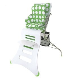 K1 highchair in white with lime green circles