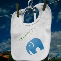 trumpet elephant bib by nell smith