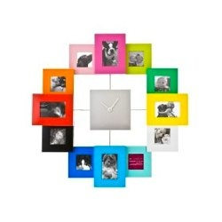 Present Time Photo Family Time Frame Clock, Coloured