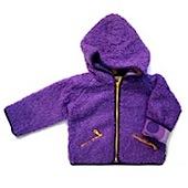 MALA purple fleece jacket with funky yellow and purple patterned lining