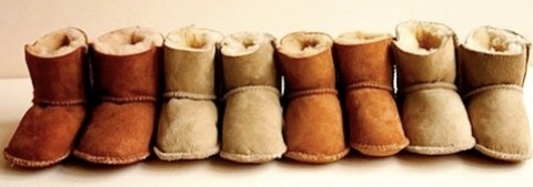 lambskin and calfskin booties by babies in sheeps clothing