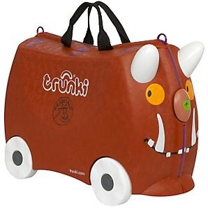 Brown gruffalo trunki Email a friend Bookmark page Print page [Buy Trunki Gruffalo, Brown online at JohnLewis.com] Larger view (opens a new window) Product Information You may remember this ride-on children's suitcase from an episode of the Dragons' Den, in which it was severely criticised by some of the dragons. But this innovative creation is fast becoming the next big thing. The top part has a saddle shaped design and there are 4 integrated wheels at the bottom, so kids can rest their little weary feet, as well as ride around. Stabilisers at the front of the case prevent your little toddlers from falling off. While the 2 horns at the front give your child something to hold on to, when they're wheeling around. Every Trunki is made from lightweight plastic and has an opening with a security clip. It also features a rubber rim, to protect fingers, a secret compartment and an ID tag. An adjustable strap is included, so you can tow your wee one along or use it to sling the case over your shoulder when you're in a rush. Along with the Trunki your tot will receive a passport, which can be filled with fun downloads. Please note: Hand luggage approved only. Key Features Brand Trunki Capacity 18L Dimensions H 32 x W46 x D 21cm Material Plastic Maximum user weight 50kg Weight 1.7kg Product code - 74430102 more than 10 in stock £40 Qty * Standard delivery within 5 working days FREE * Next, Named or Saturday delivery £6.75 * Delivery before 10.30am next working day £9.75 * FREE delivery to shop, for collection TOMORROW 30 participating shops