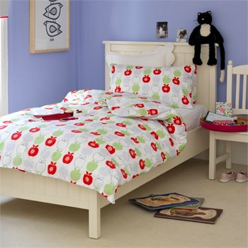 feather and black apple print bedlinen