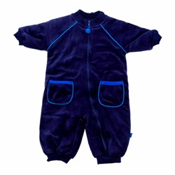 ej sikke lej Dark Blue Velour Padded Sleep/Playsuit