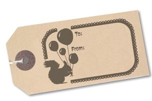 squirrel rubber stamp on gift tag