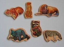 wooden animal magnet