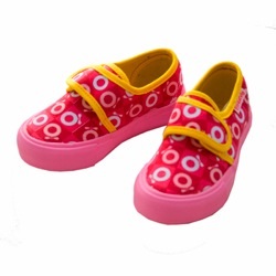 Katvig Red and Pink Chequered Canvas Sneakers with Yellow Trim