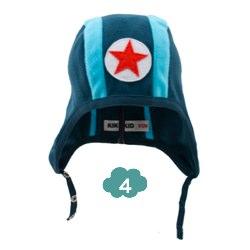 Kik Kid blue stripe speedy button fleece hat