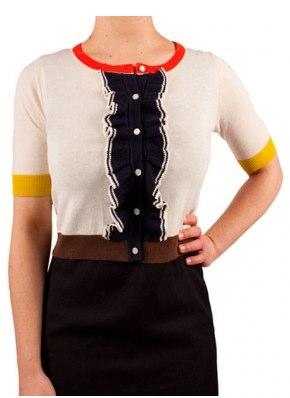 Orla Kiely, Olive and Orange Frill Cardigan, Cream __ Bohemia.jpg