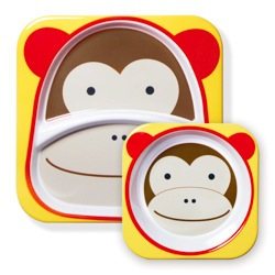Skip Hop Melamine Plate & Bowl Set in Monkey