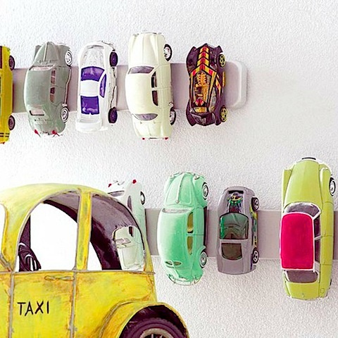 magnetic knife rack from ikea storing matchbox cars