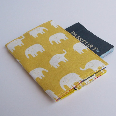 Passport Cover - Cream Elephants on Lemon Yellow
