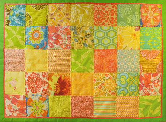 Lemon Pink cot quilt
