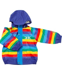 Rainbow fleece lined rain jacket by Kozi Kidz