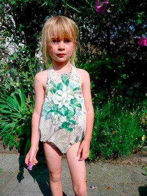 Retro Romper Swimsuit in Green/Floral by Mimimyne