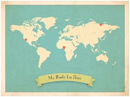 World Roots Map 18x24 Customized Print Beige by ChildrenInspire