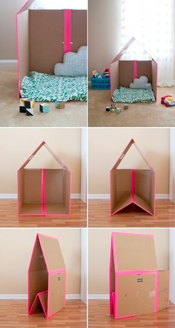 Make Your Own Collapsible Cardboard Playhouse