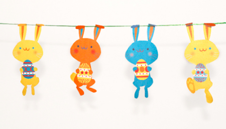 Printable Easter bunny garland, Happy Thought