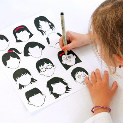 Great printable: Black faces drawing page by Babbles & Dabbles
