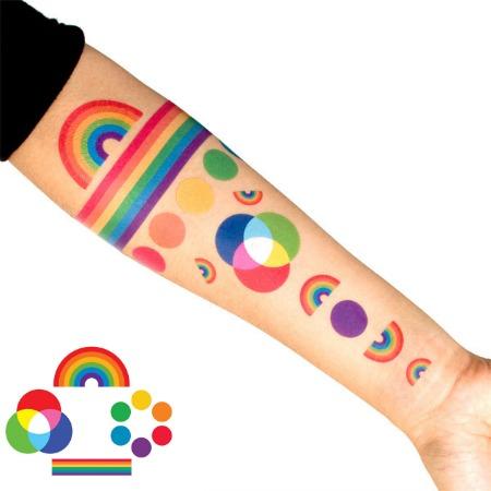 Rainbow temporary tattoo set featured on Bambino Goodies
