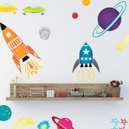 Space themed wall stickers