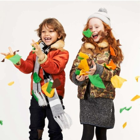 Penfield Kids collection red jacket and camouflage jacket modelled