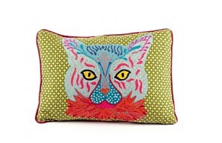 embroidered cat cushion at Plumo