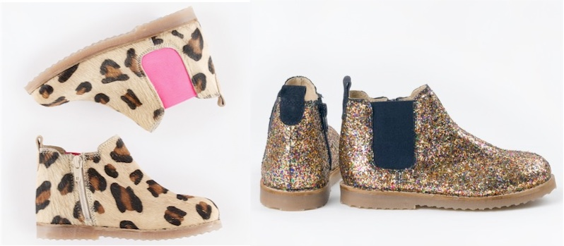Boden glitter and leopard print Chelsea boots