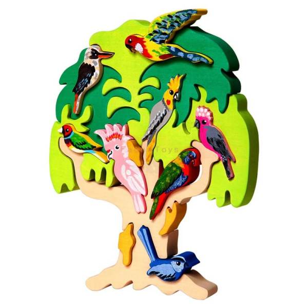Fauna australian birds in tree puzzle