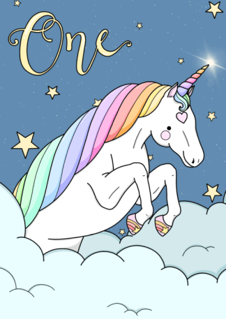 first birthday card unicorn by phoebe steel art