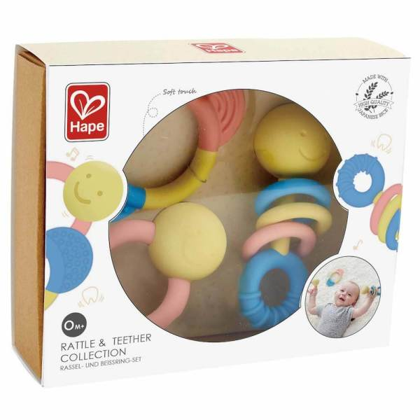 rattle teether rice hape set