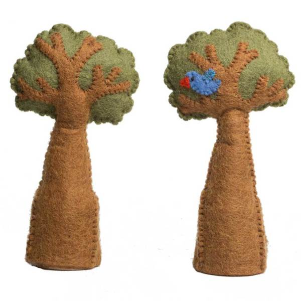 trees with bluebird wool felt