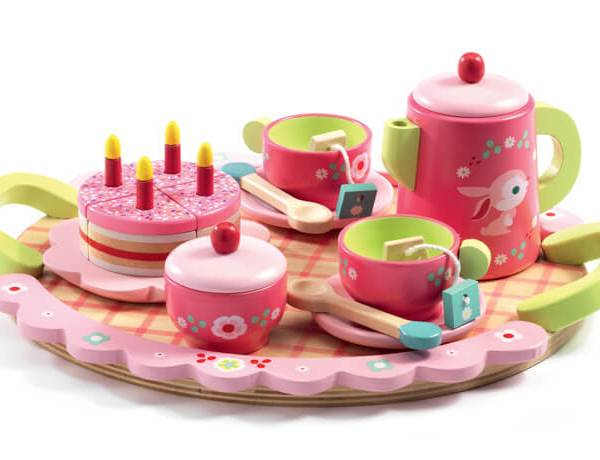 lili rose wooden tea set djeco