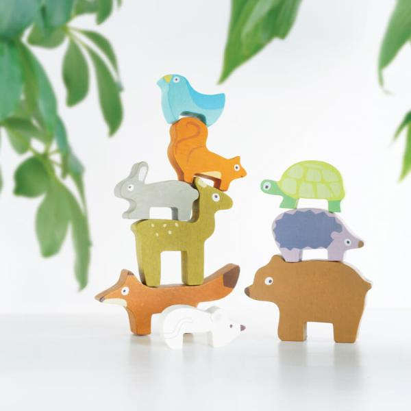 forest animals stacker wooden in pouch