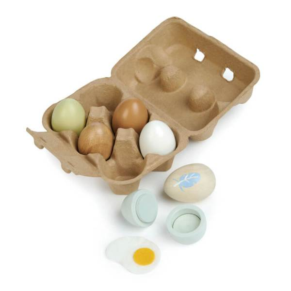 tender leaf toys wooden eggs in box from tlt