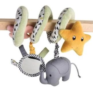 Tikiri elephant spiral pram toy organic cotton