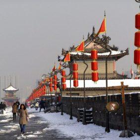 Xi'an Stadtmauer im Winter