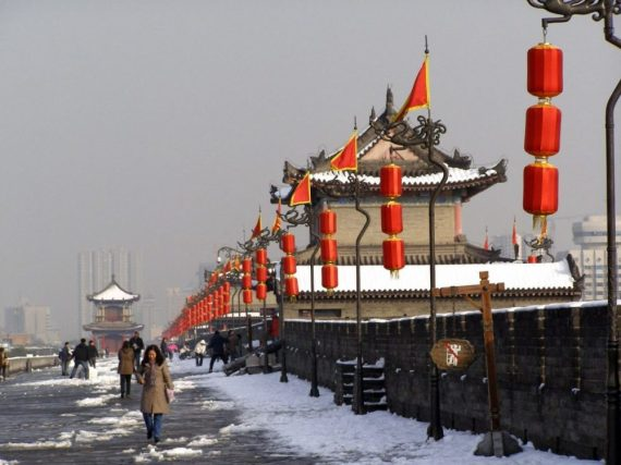 Xi'an Stadtmauer im November 2009