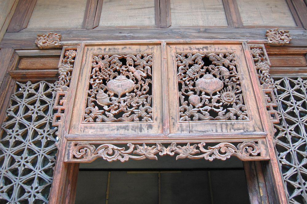 Holz- Verzierung: Tibetisch Glückssymbole