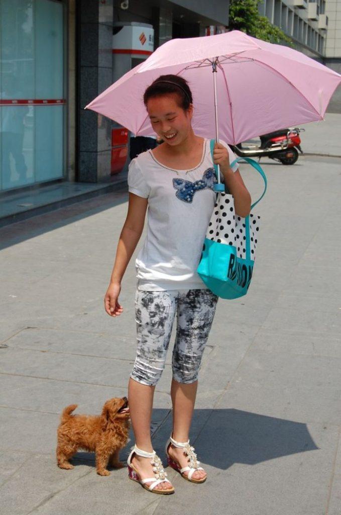 Frau mit Sonnenschirm und kleinem Hund.